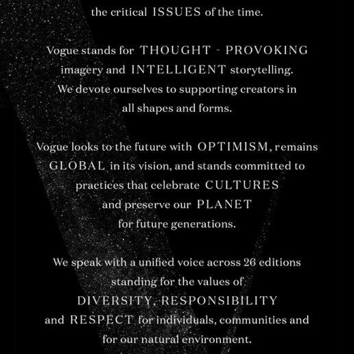 """Η Vogue ανακοινώνει την πρωτοβουλία """"Vogue Values"""""""
