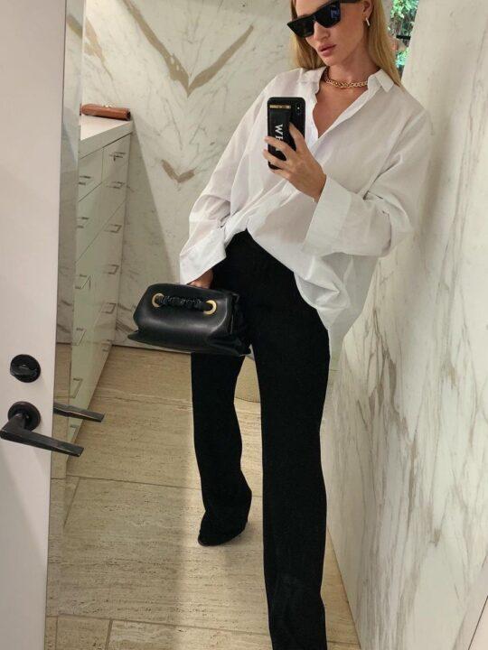 Λευκό πουκάμισο: 6 easy chic συνδυασμοί από τη Rosie Huntington-Whiteley