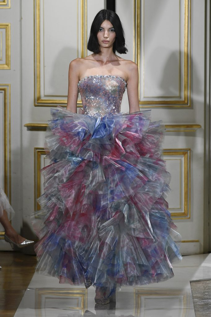 A Model wearing an outfit from the Haute Couture collections, original creation, in Paris, from the house of Giorgio Armani Privé