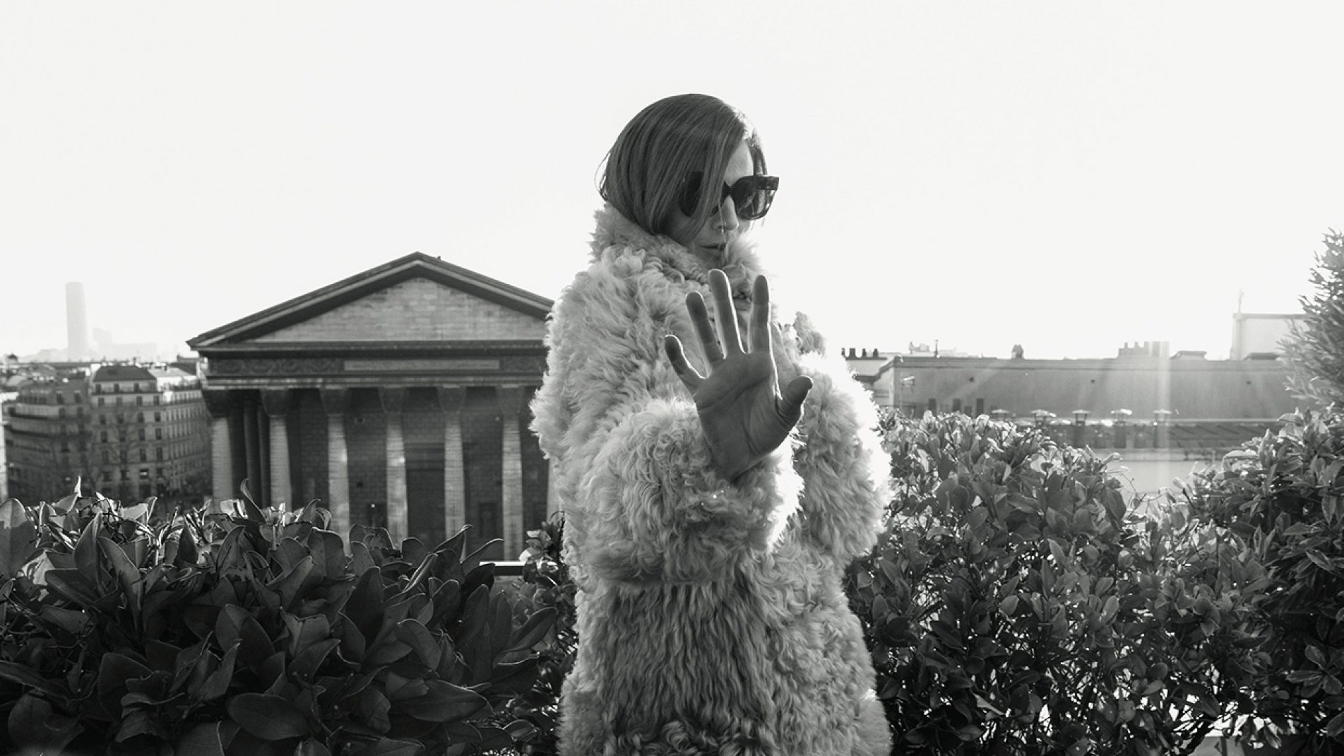 Photographer: Stefanie Renoma, Fashion Stylist: Nicholas Mellamphy | Sarah in a fur coat, Maison Ullens. Sunglasses from personal collection.
